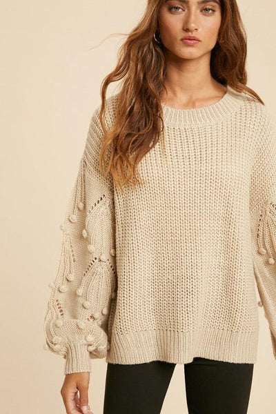 Knitted Sweater with Pom Detail