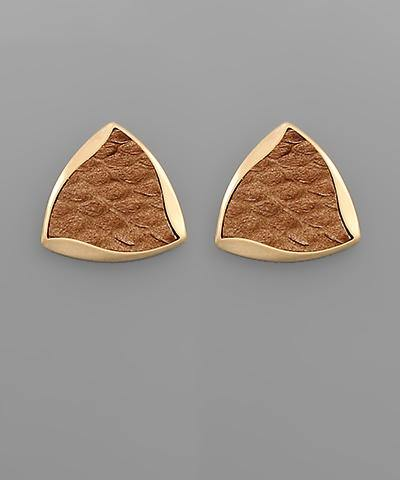 Leather Wavy Triangle Earrings - Nigh Road