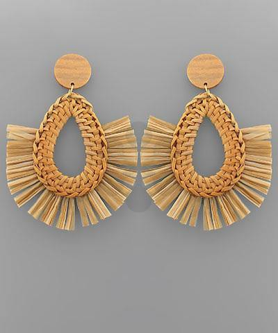 Teardrop Raffia Earrings - Nigh Road