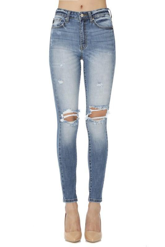 Light Wash Distressed Jeans - Nigh Road