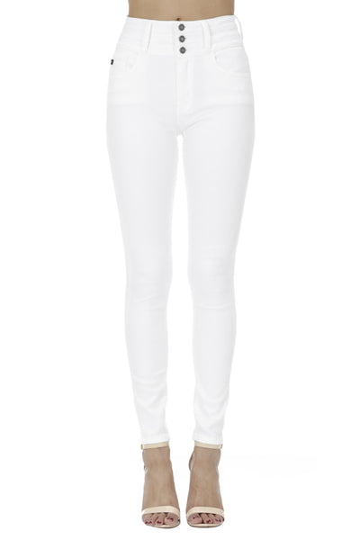White Three Button Waist Jeans