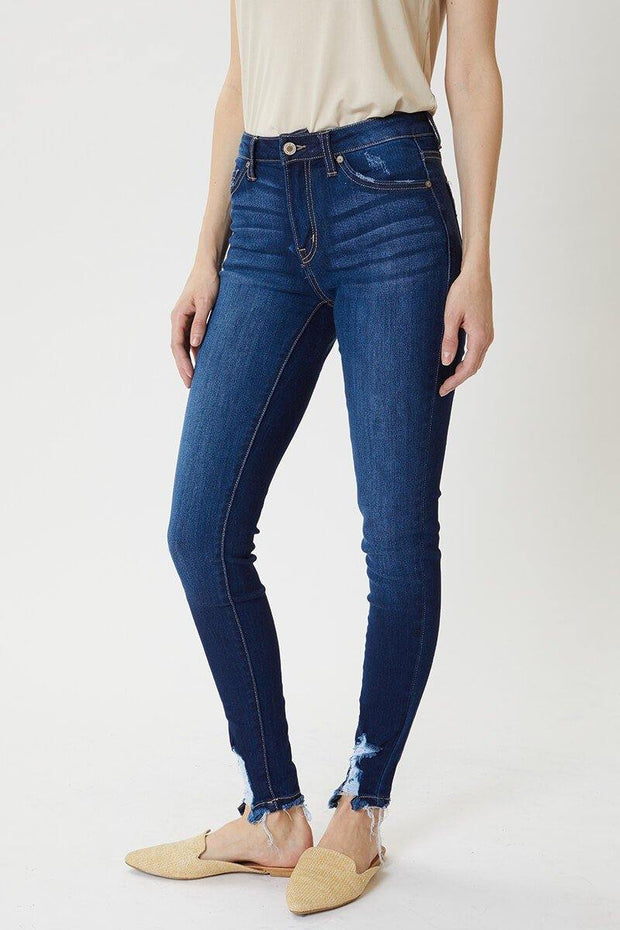 High Rise Hem Detail Jeans - Nigh Road