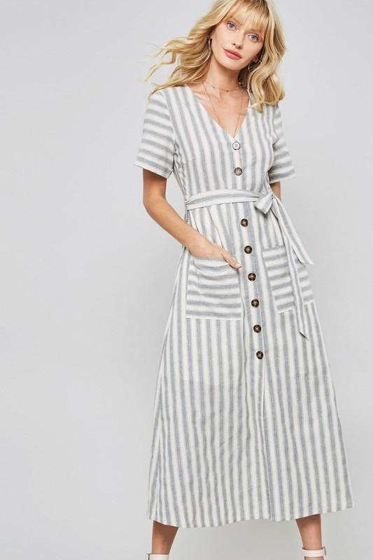 Striped Button Down Midi Dress - Nigh Road