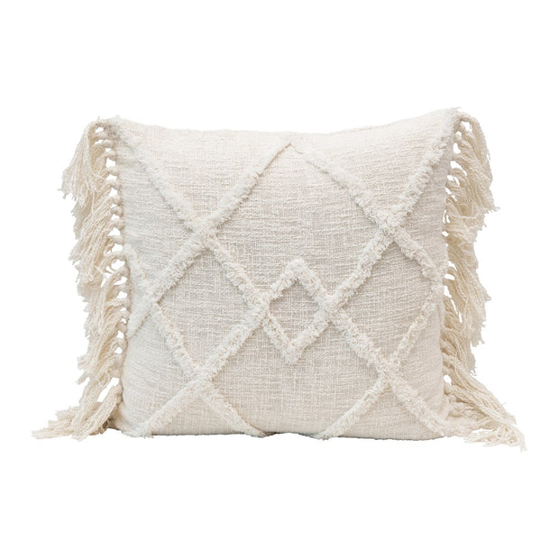 Square Cotton Blend Pillow w/ Tufted Pattern & Tassels