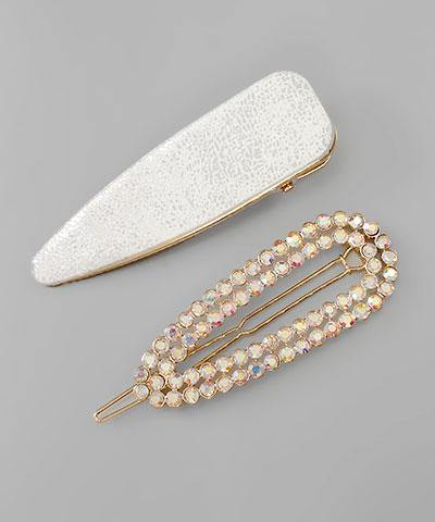 Leather & Crystal Hair Pin Set