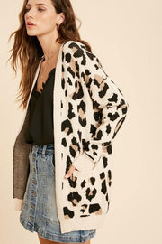 Leopard Print Sweater Cardigan - Nigh Road