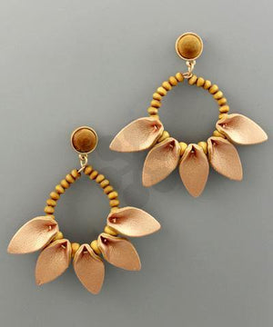 Leather Leaf Wood Bead Earrings