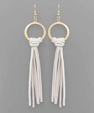 Leather Tassel and Circle Earrings