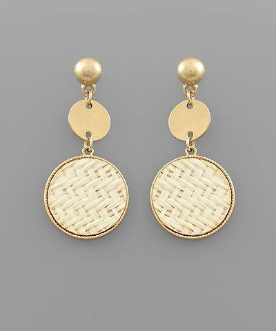 Rattan Disc Dangle Earrings