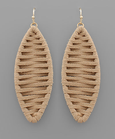Suede Wrapped Marquise Earrings