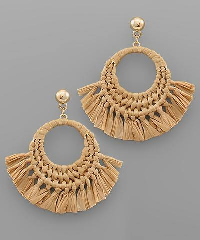 Raffia Circle Tassel Earrings