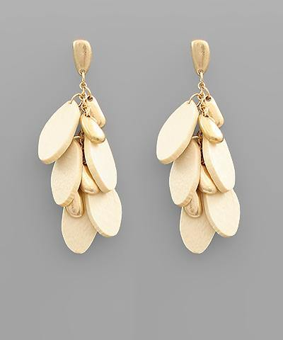 Multi Oval Wood Dangle Earrings - Nigh Road