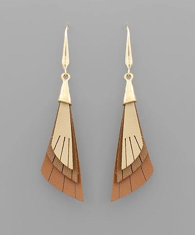 Capped 3 Layer Leather Earrings