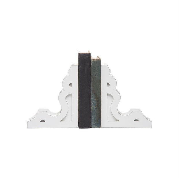 White Corbel Bookends, Set of 2