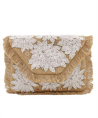 Floral Applique Jute Clutch