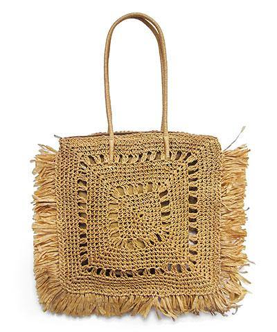 Fringe Trim Square Straw Bag