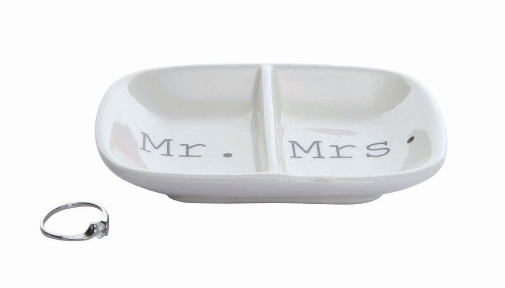 "Ceramic 2-Section Dish ""Mr./Mrs."""