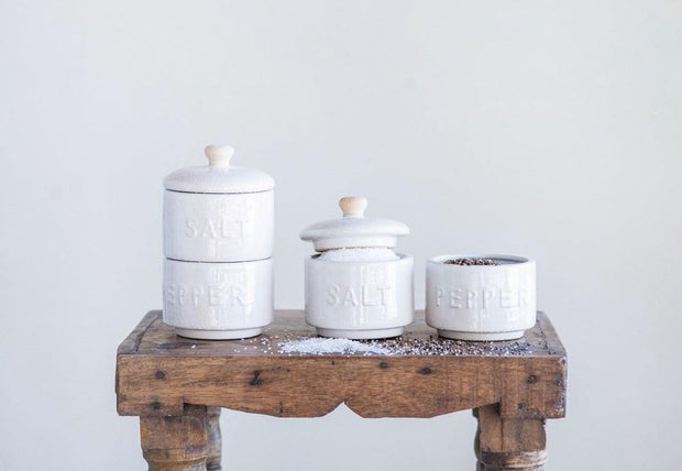 Set of Stackable Salt & Pepper Pots