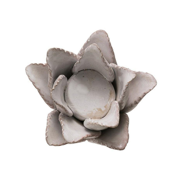 Handmade Terra-cotta Flower Tealight Holder