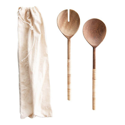 Salad Servers with Bamboo Wrapped Handles