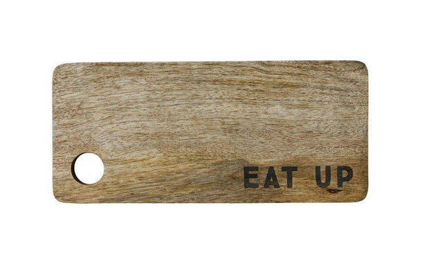 """Eat Up"" Mango Wood Cutting Board"