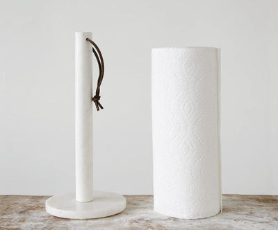 White Marble Paper Towel Holder