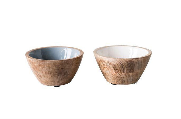 Enameled Mango Wood Bowl, 2 Colors
