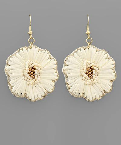 Raffia Flower Drop Earrings
