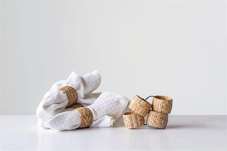 Round Woven Napkin Rings, Set of 4