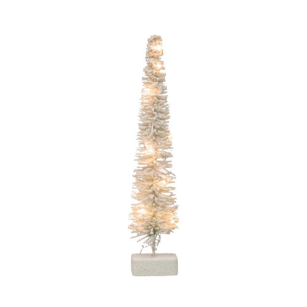Rattan LED White Flocked Tree - Nigh Road