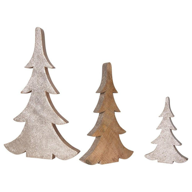 Wood Trees w/ Gold Glitter, Set of 3 - Nigh Road