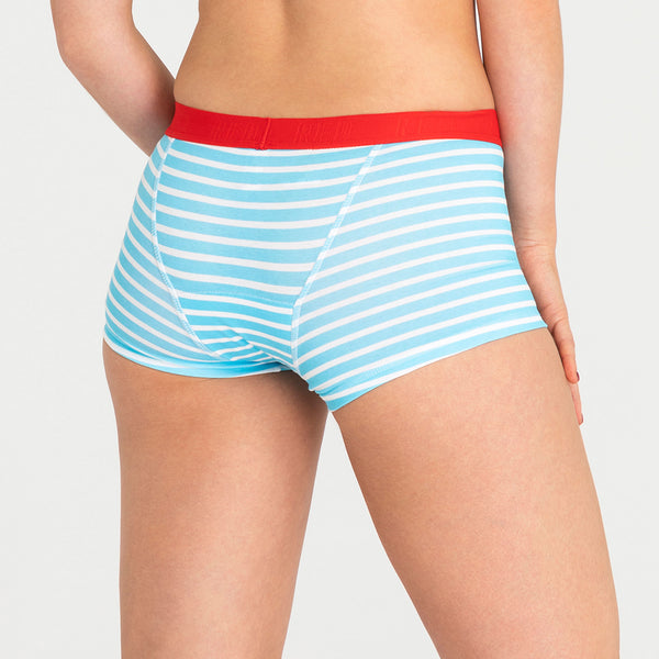Load image into Gallery viewer, Hipster Boyshort - Aqua Stripe