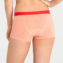 Load image into Gallery viewer, Teen Period Underwear RED Modibodi Boyshort Peach Dots Moderate Heavy 3
