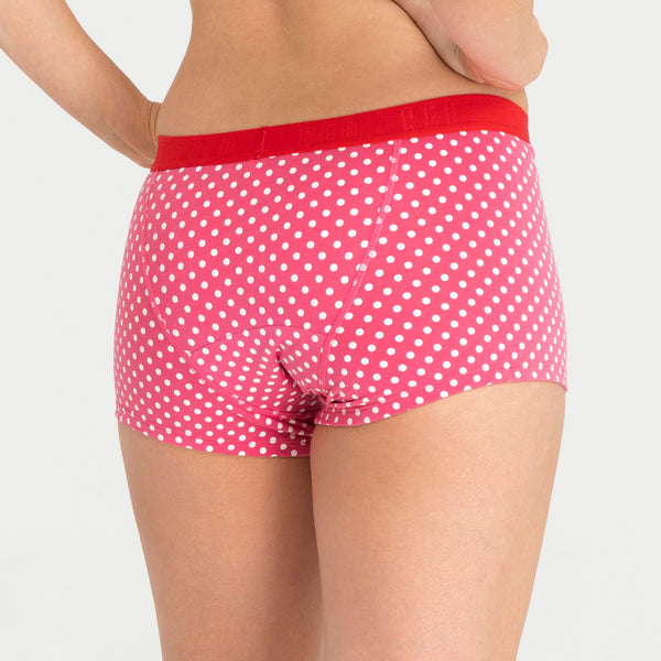 Load image into Gallery viewer, Teen Period Underwear RED Modibodi Boyshort Pink Dots Moderate Heavy 3
