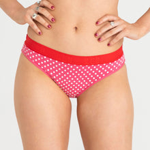 Load image into Gallery viewer, Teen Period Underwear RED Hipster Bikini Dots Moderate Heavy 1