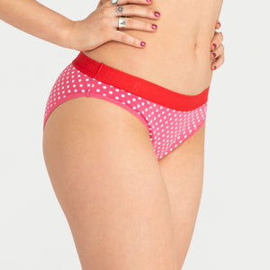 Teen Period Underwear RED Hipster Bikini Dots Moderate Heavy 1