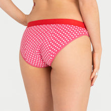 Load image into Gallery viewer, Teen Period Underwear RED Hipster Bikini Dots Moderate Heavy 3