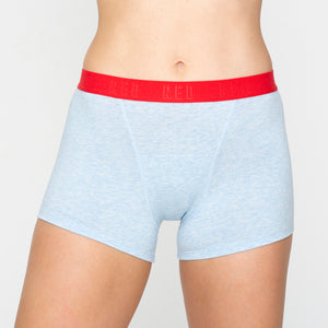 RED by Modibodi Hipster Boyshort Blue Marle Moderate-Heavy |ModelName:Tiffany Youth 14-16