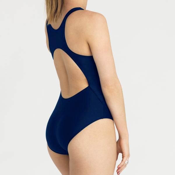 Load image into Gallery viewer, RED by Modibodi Swimwear Racerback One Piece Navy Light-Moderate |ModelName:Tiffany Youth 14-16