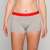 Load image into Gallery viewer, Teen Period Underwear - RED Modibodi Hipster Boyshort Grey Marle
