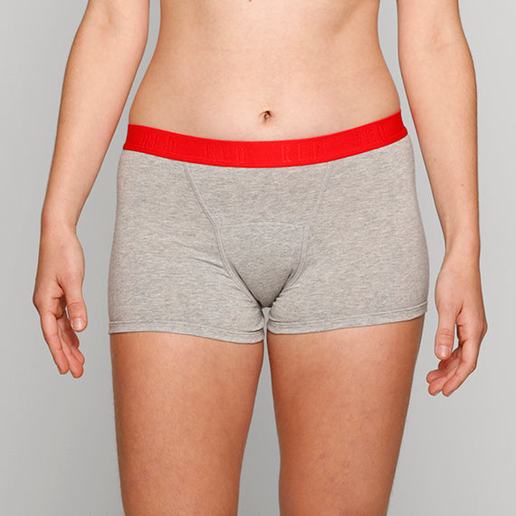 Teen Period Underwear - RED Modibodi Hipster Boyshort Grey Marle