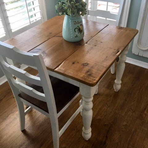Petite White Farmhouse Table With Drawer Made With 100 Year Old Barn Wood By Arcadian Cottage In Phoenix Az
