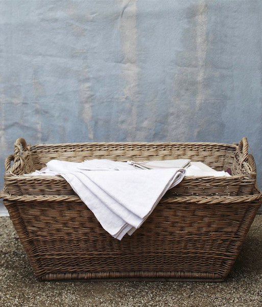 French Cane Laundry Rectangle Basket