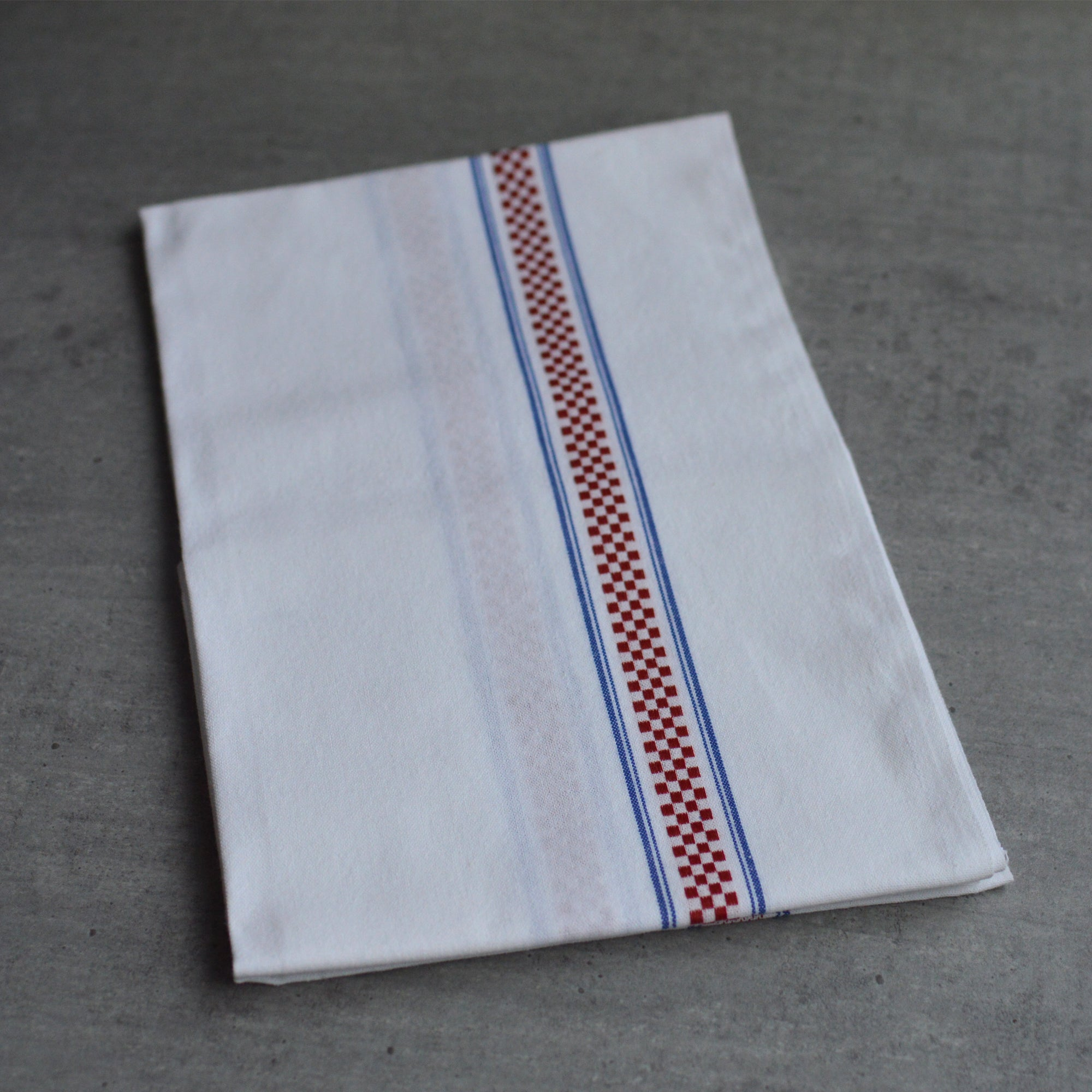 French 100% Linen White with Blue Stripes Red Check Tea Towel by Charvet Editions
