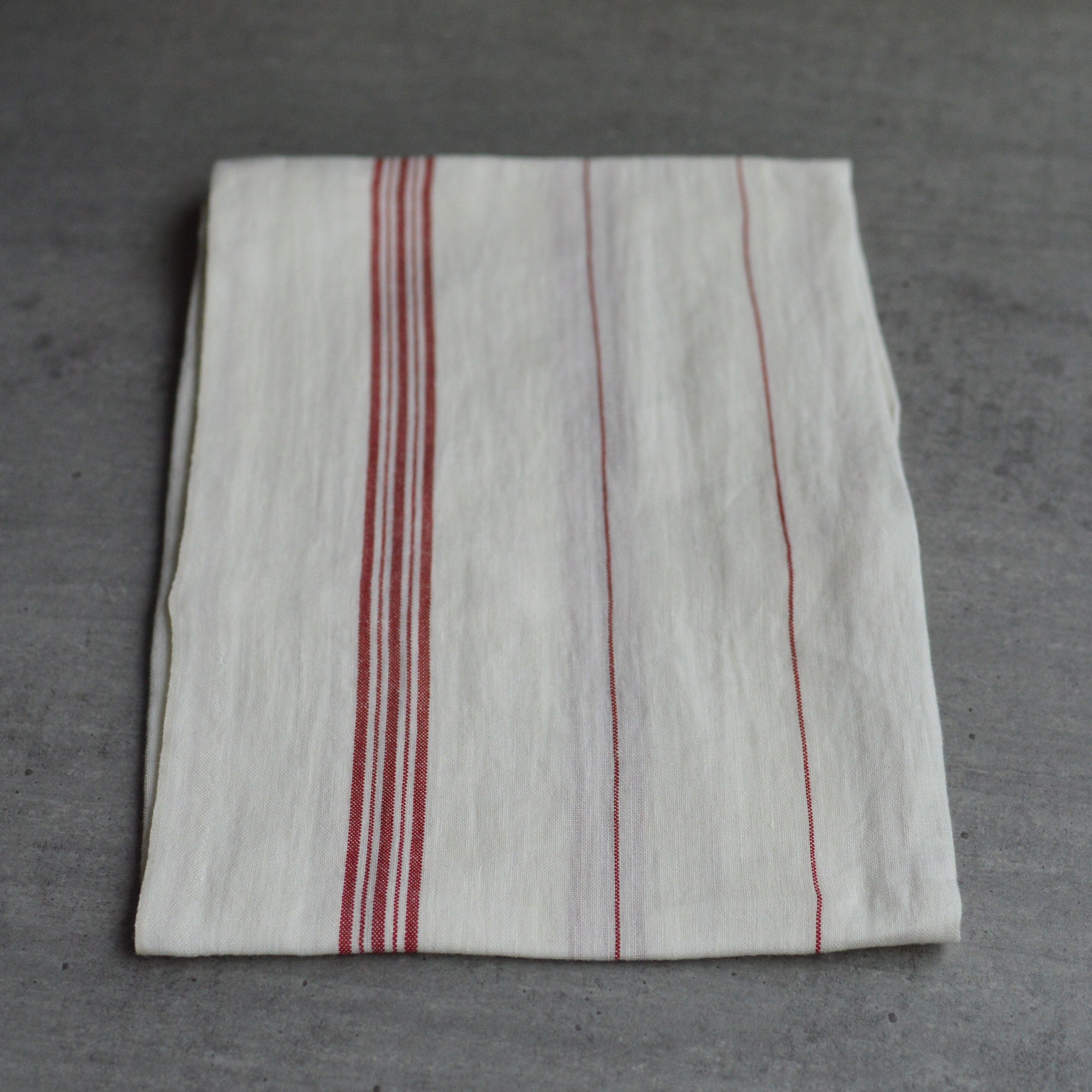 French 100% Linen White with Red Stripes Tea Towel by Charvet Editions