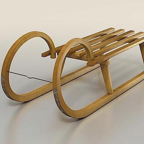 Vintage Curly Wooden Sled from Holland