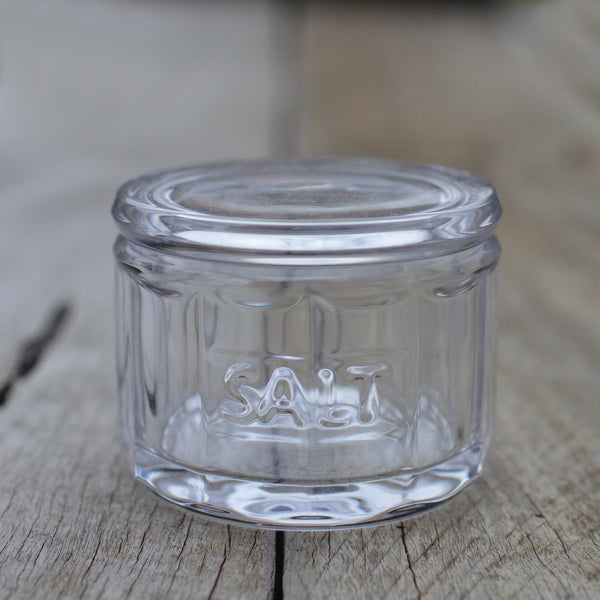 Glass Salt Jar with Wooden Scoop