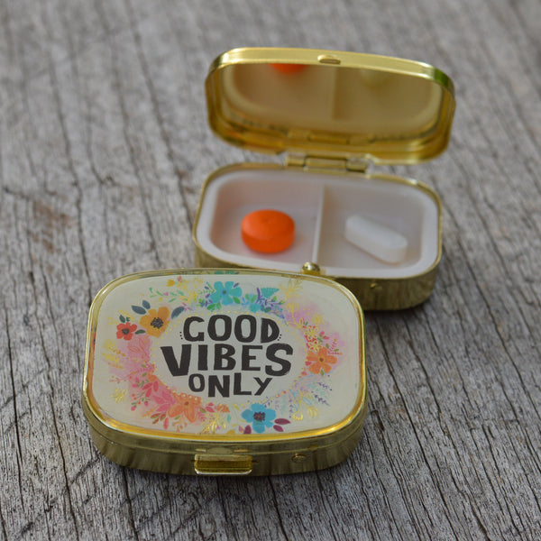 Pill Box with Good Vibes Only Pills Cover