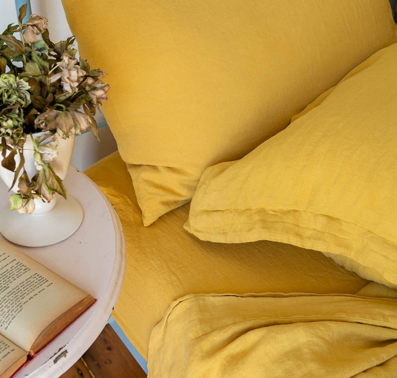 Scout Portuguese Linen Sheet Set- Queen - Mustard