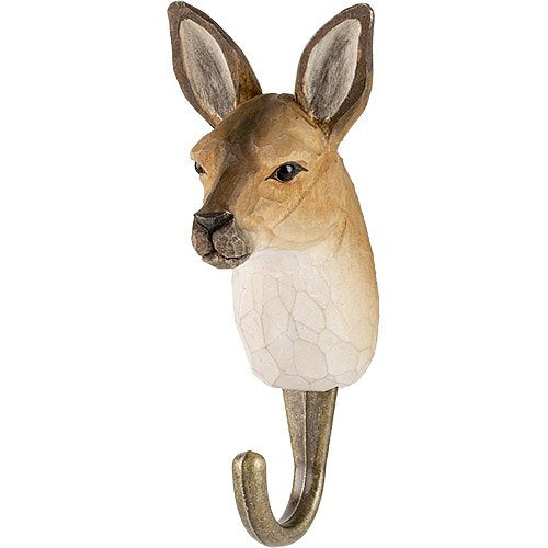 Hand Carved Wooden Wall Hook - Kangaroo